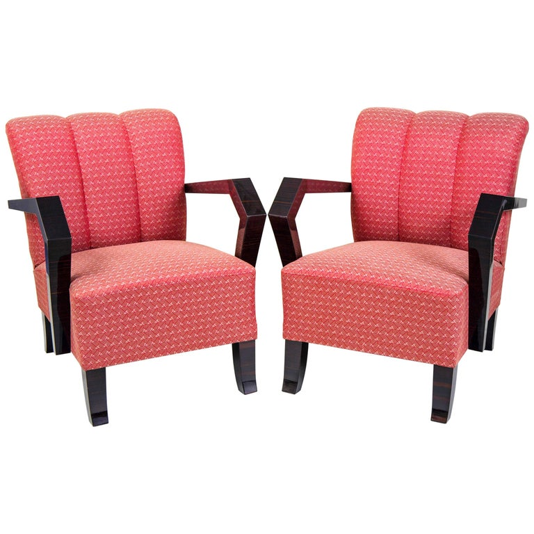 Pair of Cubist Art Deco Armchairs