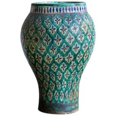 Hand-Painted Green 1930s Moroccan Vase