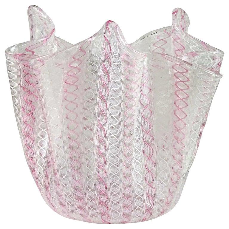 Bianconi Venini Murano Pink White Zanfirico Ribbon Italian Art Glass Flower Vase For Sale