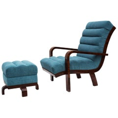 Art Deco Blue Armchair with Tabourette.