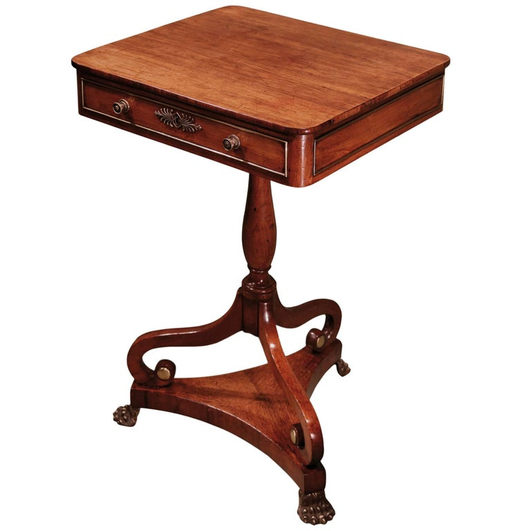 Regency period rosewood occasional table with drawer