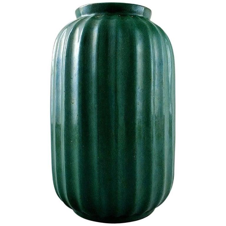Swedish Art Deco Glazed Ceramic Vase In Orange And Black