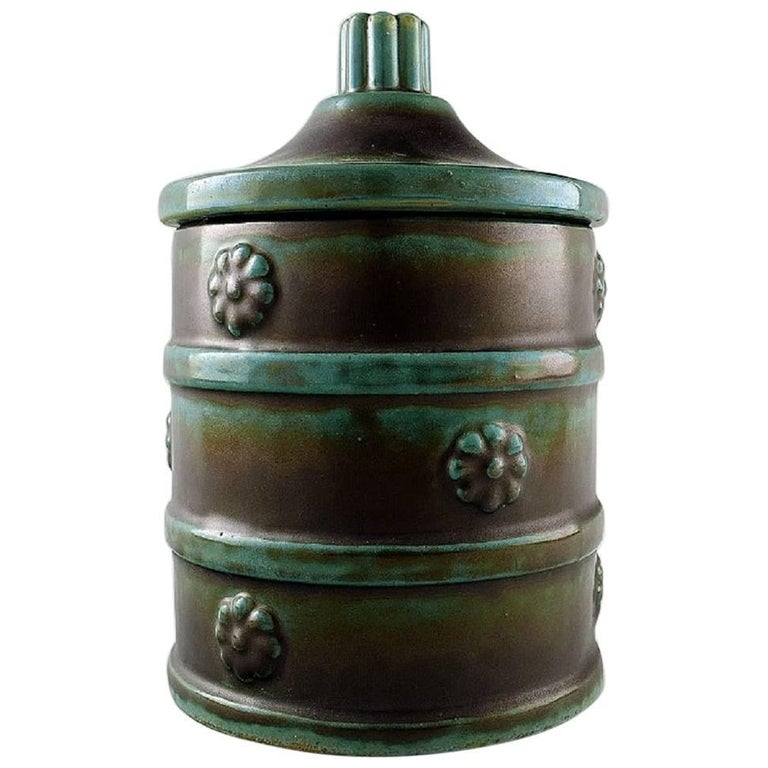 Anna-Lisa Thomson for Upsala-Ekeby Art Deco Ceramic Lidded Jar