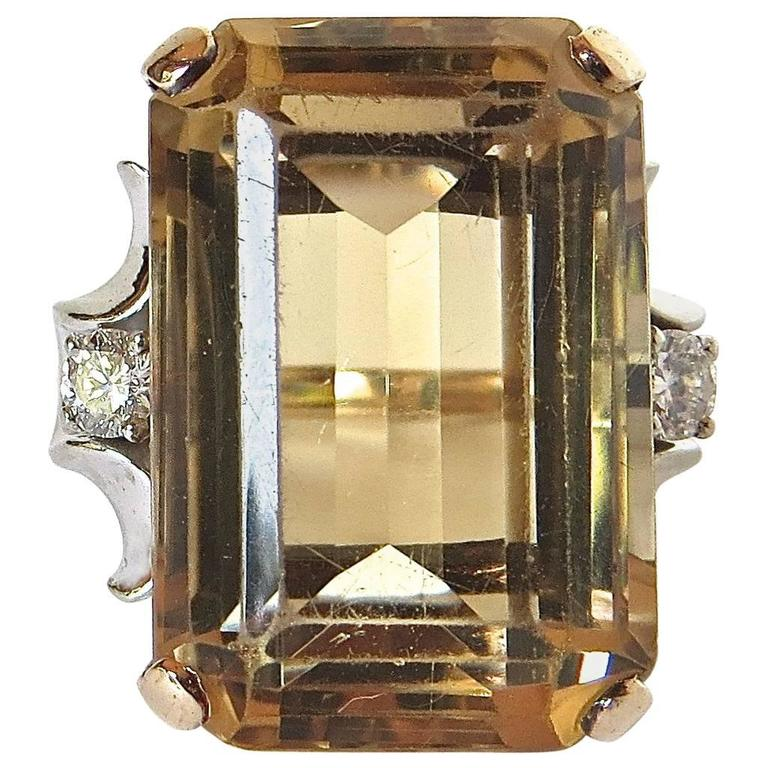 Citrine Cocktail Ring, circa 1950s For Sale