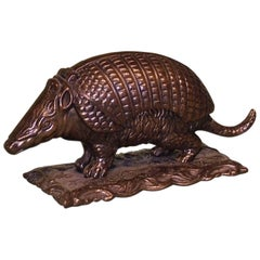 Well-Cast Mid-19th Century Bronze Armadillo Inkwell