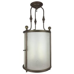 19th Century Frosted Glass Lantern