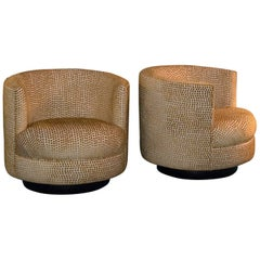 Midcentury Swivel Armchairs in the Style of Milo Baughman