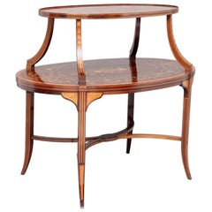 Early 20th Century Inlaid Mahogany Two-Tier Etagere