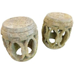 Rare Pair of 17th-18th Century Chinese Carved Stone 'Drum' Stools