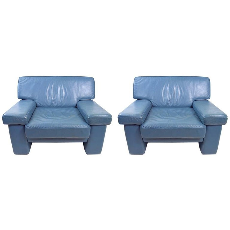 Pair of Leather Club Chairs by Walter Knoll for Brayton International For Sale