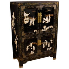 Lacquered Chinoiserie French Sideboard in Wood, 20th Century