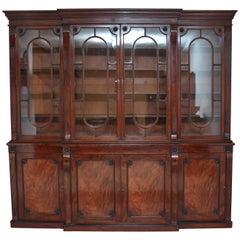 19th Century Mahogany Breakfront Bookcase