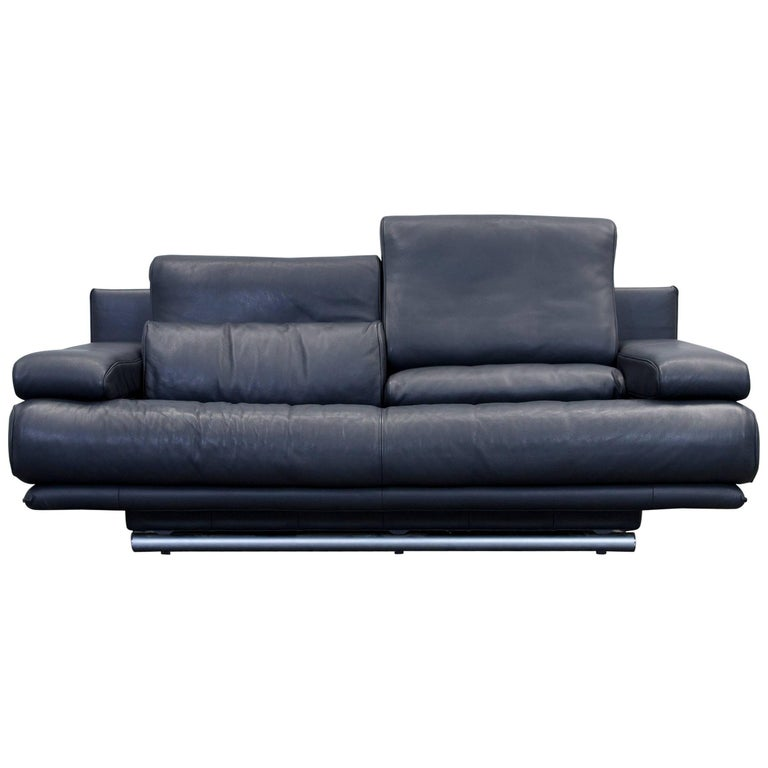 Rolf Benz 6500 Leather Sofa Black Two Seat Couch Modern