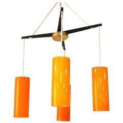 Holmegaard Four-Light Yoke Chandelier with Orange Glass Shades