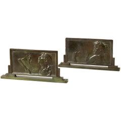 """Alexandre Charpentier, """"Le Chant"""" La Sculpture"""", Two Art Nouveau Bronze Plaques"""