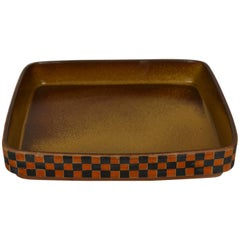 Large Square Shaped Ceramic Tray by Stig Lindberg, for Gustavsberg, Sweden