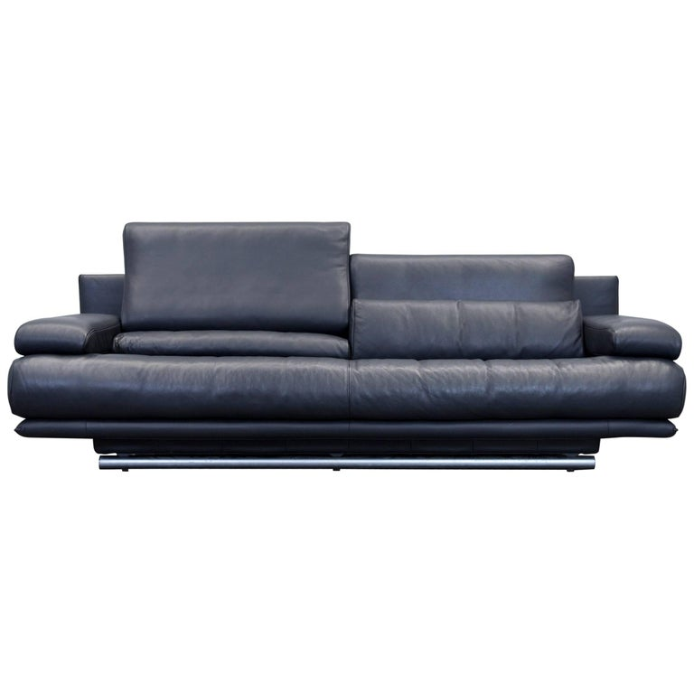 rolf benz 6500 leather sofa black two seat couch modern at 1stdibs. Black Bedroom Furniture Sets. Home Design Ideas