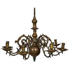 Swedish Baroque Brass Chandelier for Eight Candles, 18th Century