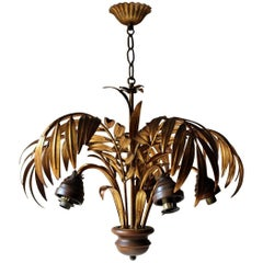 Maison Jansen Style Gilt-Metal Palm Formed Five-Branch Hanging Light