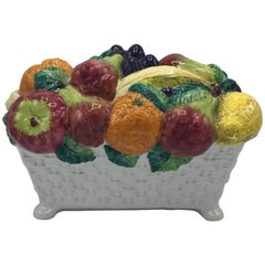 1960s Italian Ceramic Fruit Bowl Centerpiece Sculpture