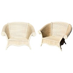 1980s Pair of Vintage Bamboo Armchairs