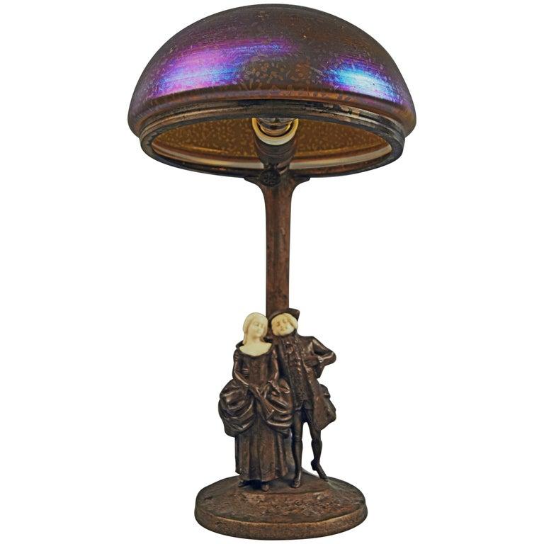 Vienna Bronze Table Lamp Sculptured Figurines Couple Peter Tereszczuk