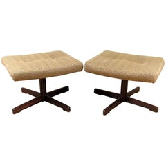 Good Pair of Danish Modern Rosewood Swivel Ottomans