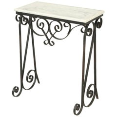 Vintage Metal and Faux Marble Console or Side Table