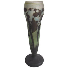 Art Nouveau Daum Carved and Cameo Botanical Vase