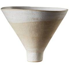 Handmade White Ceramic Stoneware Vase Giving Bowl by Iva Polachova