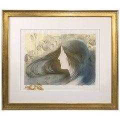"""Manuel Orazi Art Nouveau Lithograph  """"Femme aux Orchidées"""""""