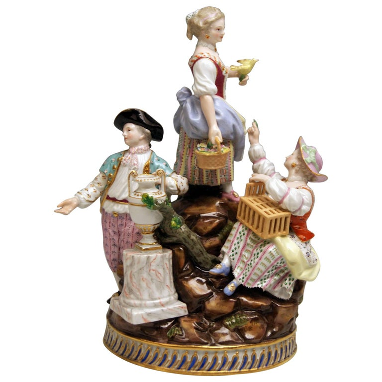 Meissen Gardener Figurines Model F 94 Michel Victor Acier made circa 1830-1840 For Sale