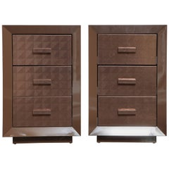 Custom Lacquered Nightstands with Embossed Leather Drawer Fronts