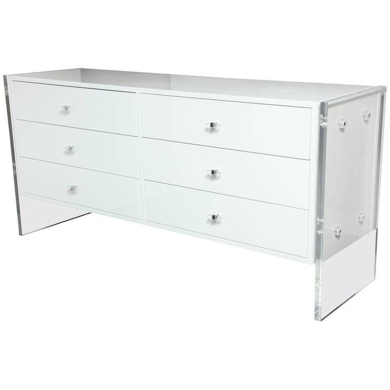 Six-Drawer White Lacquer Dresser with Acrylic Side Panels