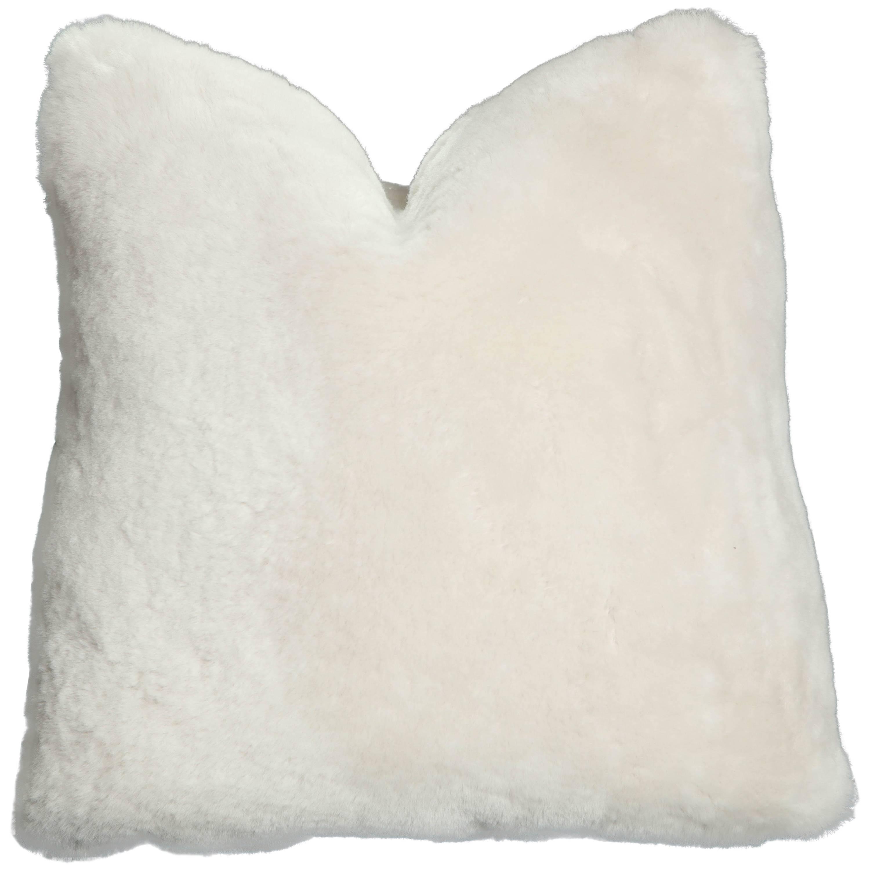 Custom Genuine Shearling Pillow in White