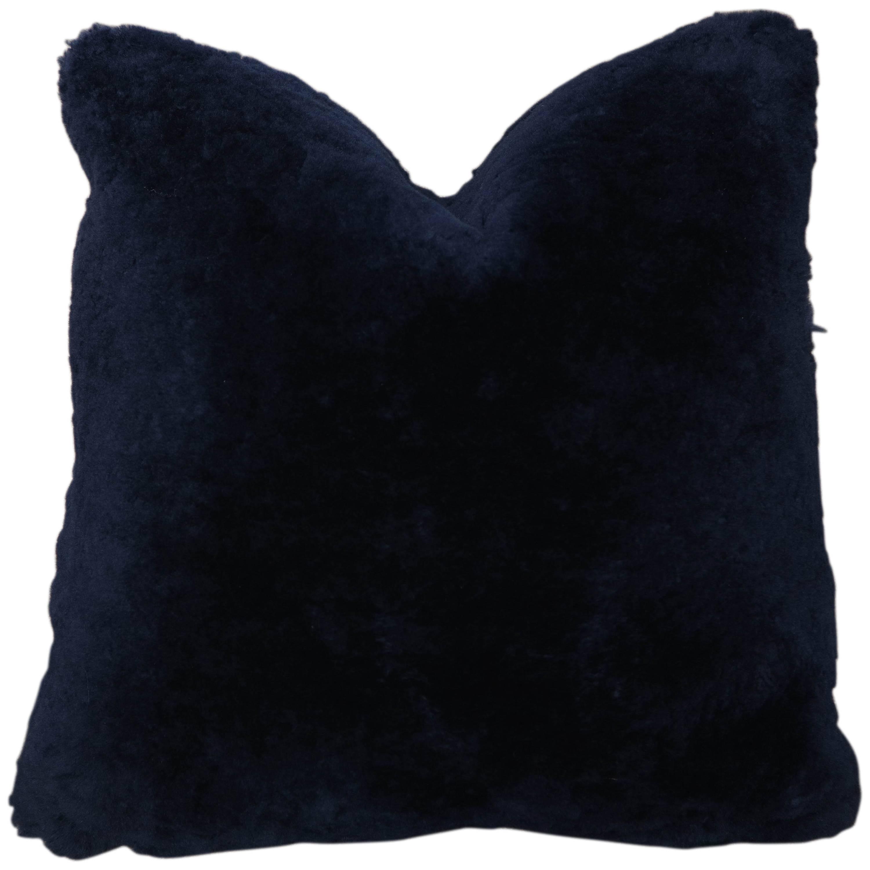 Custom Genuine Shearling Pillow in Dark Navy
