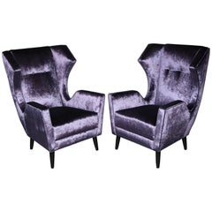 Pair of Custom Wing Chairs in the Style of Gio Ponti