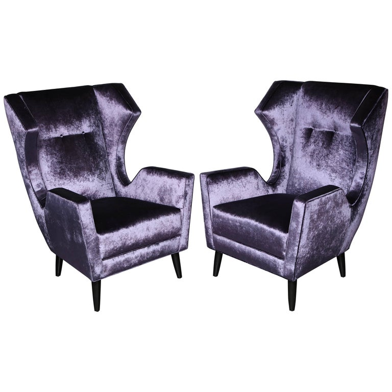 Custom Wing Chairs in the Style of Gio Ponti