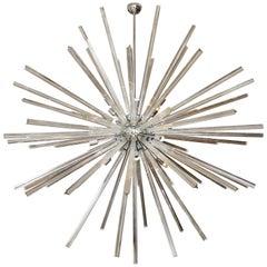 Monumental Triedri Glass Rod Sputnik Chandelier