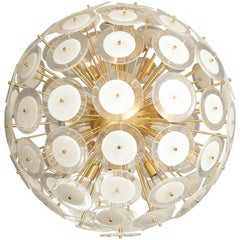 Murano White Glass Disc Sputnik with Brass Frame