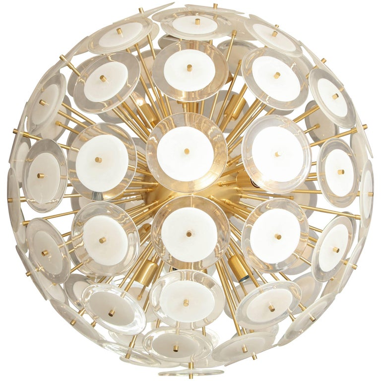 Murano White Glass Disc Sputnik with Brass Frame