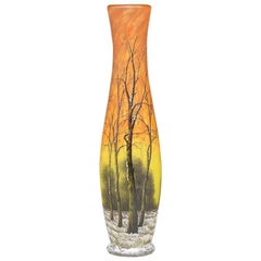 "Daum Nancy ""Winter Scene"" Art Nouveau Glass Vase"