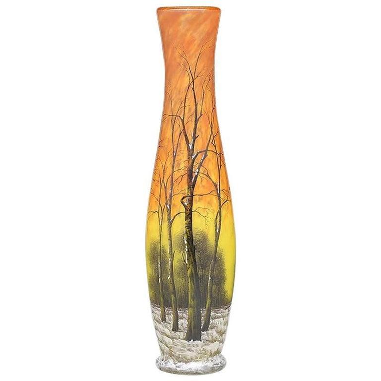 Daum Nancy Winter Scene Glass Vase For Sale At 1stdibs