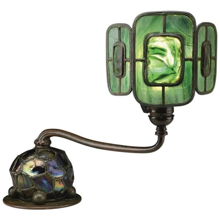 "Tiffany Studios New York ""Turtleback Tile"" Leaded Glass and Bronze Table Lamp For Sale"
