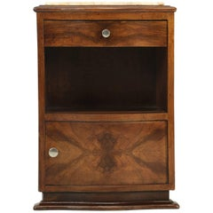 French Art Deco Nightstand or Bedside Table in Walnut