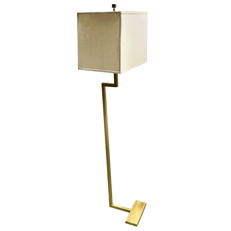 Single French Modern Brass Floor Lamp by Jacques Quinet