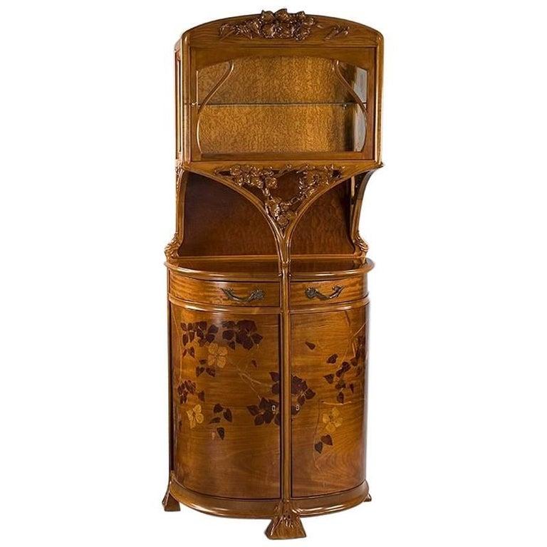 French Art Nouveau Walnut Vitrine by Camil Gauthier Nancy