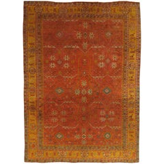 Antique Oushak Carpet, Oriental Rug, Handmade Ivory, Muted Orange, Soft Saffron