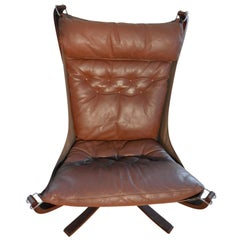 Chestnut Brown Falcon Chair Vintage Norwegian Design