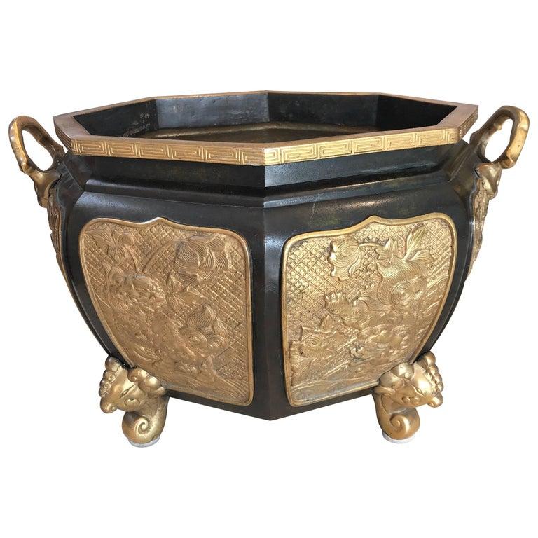 Fabulous Bronze and Gilt Jardinière For Sale